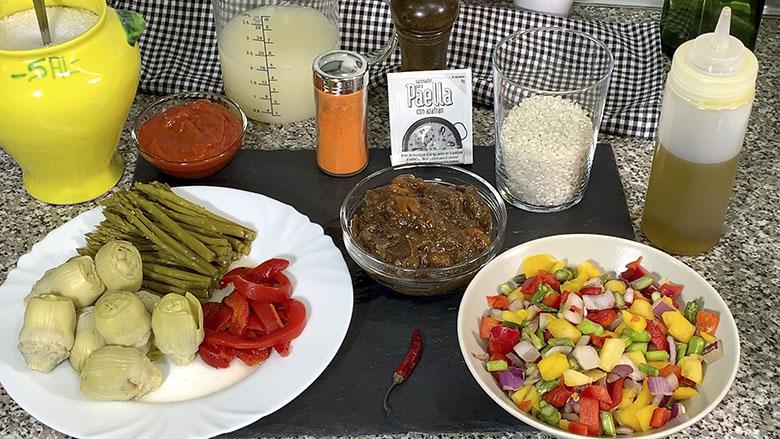 Ingredientes para arroz con carrillada en salsa