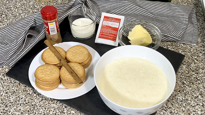 Ingredientes para tarta de arroz con leche